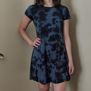 Tie Dye Blue Navy A-Line Dress